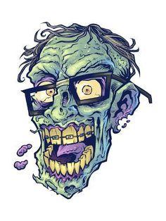 Giclee Print: by FlyLand Designs : 3d Pencil Drawings, Demon Drawings, Dark Art Drawings, Animal Drawings, Zombie Head, Zombie Art, Horror Comics, Horror Art, Skull Rose Tattoos