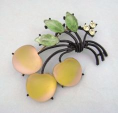 Vintage Striped Satin Glass Cherries Fruit Pin
