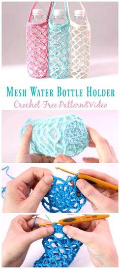 Mesh Water Bottle Holder Crochet Free Pattern [Video] - Crochet & Knitting - W - Mesh Water Bottle Holder Crochet Free Pattern [Video] - Crochet & Knitting Mesh Water Bottle Holder Crochet Free Pattern Video - Water Bottle Holder Free Patterns - Crochet Gratis, Filet Crochet, Crochet Stitches, Knit Crochet, Crochet Patterns, Crochet Geek, Crochet Things, Yarn Projects, Crochet Projects