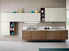 Cozinha lacada linear de madeira WALNUT LEUCA by Pedini