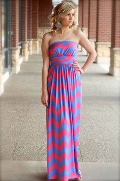 Spring Candy Chevron Maxi Dress-this would b cute w/ a jean jacket.