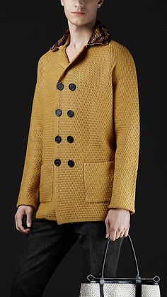 bright larch (what a great color name) Burberry sweater with raffia collar