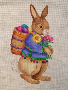 Bunny Easter Tote Hand Painted Needlepoint by Nenah Stone Designs 18M | eBay