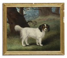 Collection of Brooke Astor -  Samuel Spode ACTIVE 1811-1858 KING CHARLES SPANIEL -  signed Spode and dated 1835 bottom center oil on canvas 24 7/8 by 30 in. 63.2 by 76.2 cm