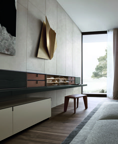 Quid composition with canapa mat lacquered floor-standing storage unit and brown nickel mat painted profiles, hanging shelf with back in black elm