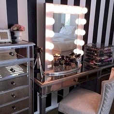 Elegant Makeup Room Checklist & Idea Guide for the best ideas in Beauty Room decor for your makeup vanity and makeup collection. Dream Master Bedroom, Master Bedroom Design, Fancy Bedroom, Kids Bedroom Designs, Make Up Storage, Vanity Room, Glam Room, Makeup Rooms, Beauty Room