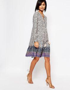 Image 4 ofVero Moda Tie Front Folk Dress