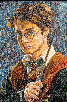 A stunning portrait of wizard Harry Potter made out of thousands of jelly beans. It was created by artist Kristen Cumings who is known for her Masterpieces of Jelly Belly Art Collection.
