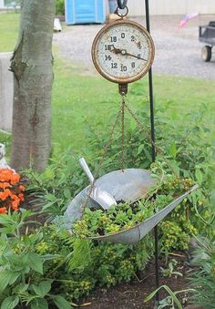 {Upcycled Scale} transformed into a {Gorgeous [Vintage] Piece of Garden Decor!}