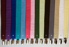 "Child Suspenders - ANY SOLID COLOR - photo prop wedding Baby Toddler Child Boys- @Leigh Lankford does the ""G"" look like the right green? We can do khaki if you want...just thought this might be cute!"