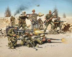 Soldiers of DAK attack the British Desert German Soldiers Ww2, German Army, Military Figures, Military Art, Army Drawing, Afrika Corps, Germany Ww2, Ww2 Pictures, Modern Warfare