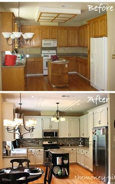 Paint + Backsplash + Light Fixtures = whole new look!n Look at the ugly florescent lighting in the before picture!