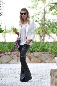 glam4you - nati vozza - couro - leather - blazer - branco - white - look…