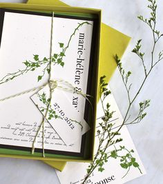 Modern Garden - Wedding Invitation - Recycled Paper,  Green & White Bakers Twine - DEPOSIT. $100.00, via Etsy.    Pretty green, nature-y, but not too much, and on recycled paper. Like.