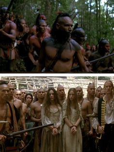 Remember to watch out for Magua (above) and what happens when he doesn't kill the captives.  Last of the Mohicans