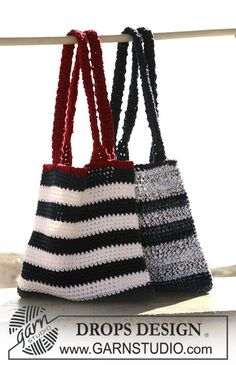 "Two bags:DROPS crochet bag with stripes in ""DROPS Ice"" and crochet bag in stripes and mixed qualities in ""DROPS Ice"" and ""Muskat Soft""."