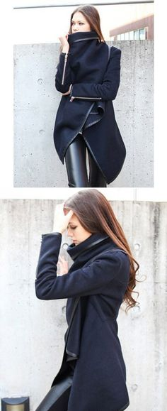 Navy Zipper Detail Asymmetric PU Trim Waterfall Coat