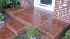 Decorative concrete overlay stained and textured over existing concrete Concrete Overlay, Concrete Walkway, Curb Appeal Porch, Outdoor Living, Outdoor Decor, Outdoor Ideas, Outdoor Landscaping, Landscaping Ideas, Backyard Makeover