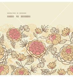 Vintage brown pink flowers horizontal frame vector by Oksancia on VectorStock®