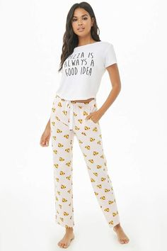 Pizza Graphic PJ Set  curved high sleeves 34e180080