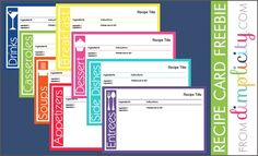 Recipe Card Freebie PDF. Type directly onto the file! Printable Free