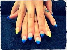 Pointy Claws Yellow & Blue Acrylic Nails I Had Done For Linkin Park Concert Cape Town 07/11/2012 ★