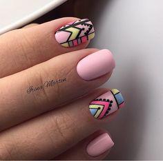 Nail Arts Fashion Designs Colors and Style Cute Nail Art Designs, Pink Nail Designs, Fun Nails, Pretty Nails, Indian Nails, Short Gel Nails, Tribal Nails, Glamour Nails, Nail Tattoo