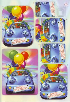 A Happy Birthday car Image Stitching, 3d Sheets, Image 3d, 3d Pictures, 3d Craft, Card Maker, Cardmaking, Diy, Projects To Try
