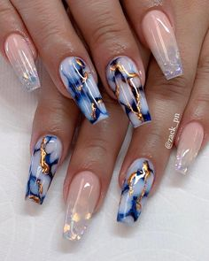 It's better to try marble nail designs. Simple black and white tones can make you look tasty and stand out from the many identical nails! Lime-and-white marble nail designs is like an ink lands Marble Nail Designs, Cute Nail Designs, Light Blue Nail Designs, Royal Blue Nails Designs, Bright Nail Designs, Gorgeous Nails, Pretty Nails, Swag Nails, My Nails