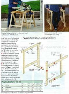 Folding Sawhorse Plans - Workshop Solutions Plans, Tips and Tricks   WoodArchivist.com