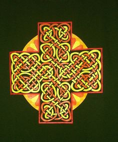 Celtic Sun Cross T Shirt 4 colors on Forest Green by Teesnat