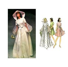 1970s WEDDING DRESS PATTERN Mod Boho Bridal Gown w/ Couturier Sleeves, Bridesmaid Dress Vogue 2254 by DesignRewindFashions - Vintage & Modern Sewing Patterns
