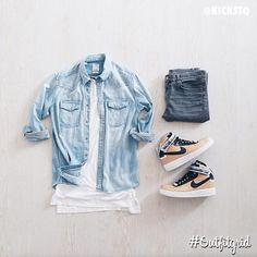 Today's top #outfitgrid is by @kickstq. ▫️#JohnElliott #Tee ▫️#Visvim #Shirt ▫️#SaintLaurent #Denim ▫️#Nikelab x #RiccardoTisci #AF1