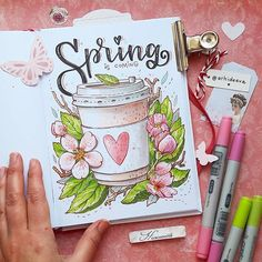 Photos and Videos Hooray! Spring has come to its senses and somewhere is near) I want to consider yo Bullet Journal Month, Bullet Journal Notebook, Bullet Journal School, Bullet Journal Spread, Bullet Journal Ideas Pages, Bullet Journal Inspiration, Book Journal, Journals, Copic Marker Drawings