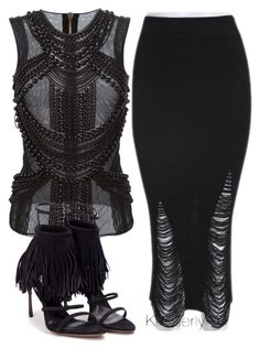 A fashion look from August 2015 featuring see through tops, long knit skirt and black strappy shoes. Browse and shop related looks. Hot Outfits, Swag Outfits, Classy Outfits, Stylish Outfits, Fashion Wear, Fashion Looks, Fashion Outfits, Womens Fashion, Fashion Trends
