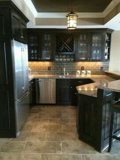 Small Kitchen With Dark Cabinets With Darker Neutral Tile, Subway Tile  Backsplash And Darker Neutral Granite Countertops Part 98