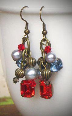 Dangle Charm Earrings, Rhnestone, Pearl, Red, Blue, Gray