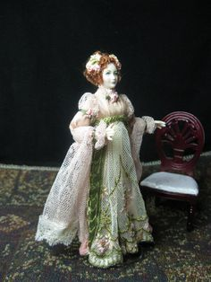 Miniature 1/12 scale Doll House Porcelain Doll dressed in Empire/Regency style of early 1800's.  New  .
