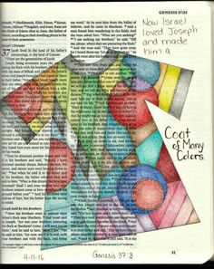 bible journaling coat of many colours Bible Journaling For Beginners, Bible Study Journal, Scripture Study, Bible Art, Book Art, Art Journaling, Prayer Journals, Journal Quotes, Journal Art