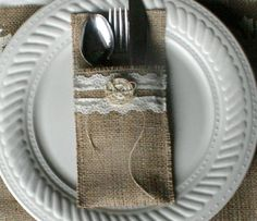 Burlap cutlery holders 6/21 wedding cutlery by Bannerbanquet, $21.00