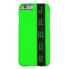 Neon Letters Personalized Black and Lime Green Barely There iPhone 6 Case