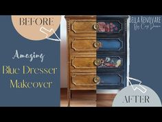 Amazing Blue Dresser Makeover Using Mineral Chalk Paint - YouTube Furniture Update, Furniture Makeover, Diy Furniture, Furniture Refinishing, Faux Painting, Diy Painting, Recycled Furniture, Painted Furniture, Distressed Furniture