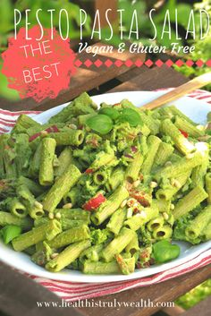 Looking for the perfect pasta salad recipe this summer? This one's for YOU! Vegan & Gluten Free Pesto Pasta Salad.. it's absolutely delicious! Vegan Pasta Salad | Vegan Pasta Salad Recipe | Gluten Free Pasta Salad Recipe | Gluten Free Pasta Salad
