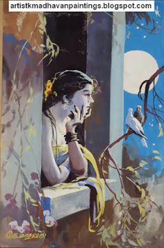 Oviyar K.MADHAVAN Oviyangal - Artist K.Madhavan Paintings - Amazing Paintings - One of the Famous Painters,Fine Artists, Illustrators,Banner Artists in India Indian Women Painting, Indian Art Paintings, Indian Artist, Drawing Artist, Painting & Drawing, Watercolor Paintings, Artist Work, Painting Lessons, Painting Tips