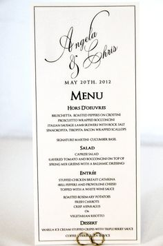 Formal Wedding Menu Card