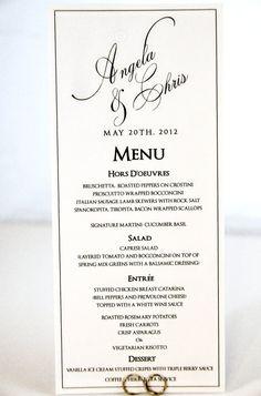 Wedding Menu Card - Tea Length Calligraphy Style