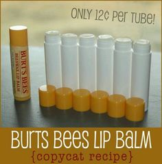 How To Make Burts Bees Lip Balm For $0.12 Per Tube...  http://www.herbsandoilsworld.com/homemade-burts-bees-lip-balm/    Burts Bees Lip Balm is currently selling on Amazon for $2.50 per tube - but you can make your own quickly and easily for just $0.12 per tube with this copy cat tutorial