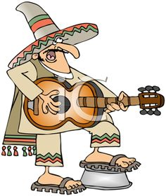Royalty Free Clipart Image of a Mexican Playing a Guitar