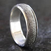 The textured finish of this ring highlights the raw elegance of sterling silver. Nyoman Rena masters elaborate silversmith techniques to achieve the illusion which makes this ring unique. Gold And Silver Bracelets, Cheap Silver Rings, Mens Silver Necklace, Sterling Silver Necklaces, Silver Earrings, Cheap Wedding Rings, Wedding Bands, Unique Rings, Fashion Rings