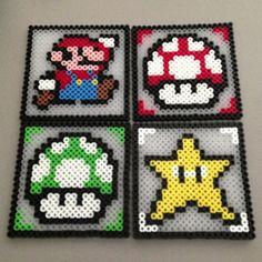 Nintendo Mario coasters hama perler beads by christina_eats